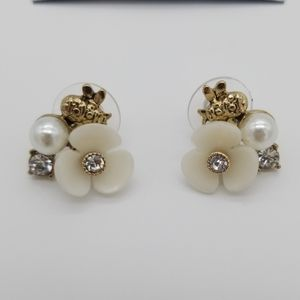 NWT Napier Bee Flower Pearl Statement Earrings